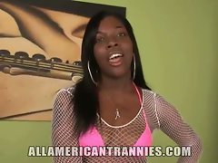 The black tranny is fun to look at in her solo nude video. She has small tits and a sexy coc...