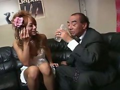 The Japanese shemale poses in a super cute blue dress and strips to masturbate. Then a guy s...