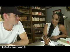 The sexy shemale tutor is trying to help him learn. Perhaps a blowjob would focus his mind a...