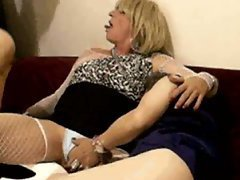 Two mature crossdressers in lingerie and wigs indulge in fun foreplay with him in their hot ...