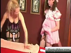 The sissy submissive wears a pink satin dress like a total fairy and he gets fucked in the a...