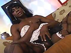 Black shemale/cd gives a guy a good sized cock and cum.