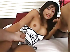A Cute sexy Thai ladyboy puts on a show for her Boy friend with another very cute sexy Ladyb...