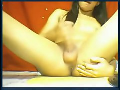 With a gorgeous set of silky smooth balls and a rock hard cock the shemale masturbates sensu...