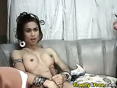 Sexy tranny in her g-string bikini plays her big cock exclusively in her private ts cam show!