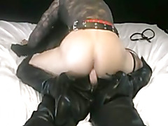 """Sucking an 8"""" cock toy, am so turned on, giving a bootjob and then strip out my leather..."""