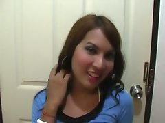 The beautiful young post op ladyboy with small tits models a bikini and looks good. She stri...