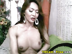 Beautiful asian tranny touched her breast while masturbating her cock. Jerking off her hard ...