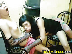 Watch this adorable tranny play with her big hard cock! She strokes her hard dick smoothly a...