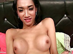 Ladyboy Om is fucked to perfection in this hot bareback session. Stripped out of her bra and...