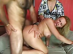 Some hunk fucks some old black flabby belly but then calls in hot Tranny Amanda Ferraz to fi...