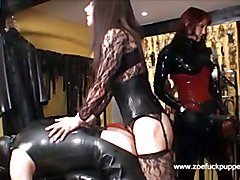 Fuck Puppet Zoe gives latex gimps her full 9 inches of TGirl cock in their ass and mouth
