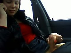 She's on the phone and filming a solo video in the car and it's all about playing with her c...
