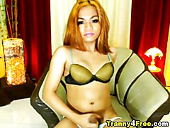 Hardcore tranny doing some nasty stuff in front of her cam. Tranny self sucks her own cock t...