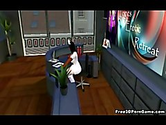 3D cartoon tranny babe sucks and gets fucked by her doctor and a cartoon babe