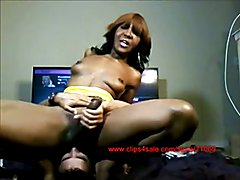 9 INCH HUNG SEX OOZING DOMINATE BIG BLACK COCK SHEMALE TEACHES HER NEW COCK BOY THE ART OF T...