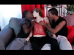 White skinny crossdresser double penetrated by two black guys