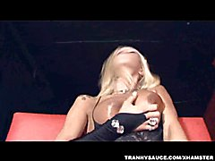 Blonde shemale pornstar Alison sucks cock and gets fucked hard anally