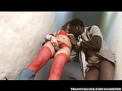Tranny Thamara sucks and fucks an ebony stud before getting cummed on