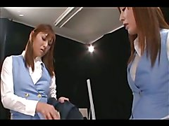 Two shemale stewardesses encounter a young schoolgirl; what to teach her?