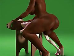 super booty and huge breast black dickgirl fucking little white girl slave 3d animation