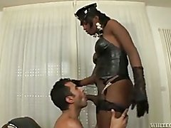 Stud blows hard cock of big assed ebony shemale