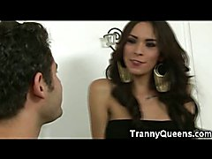 TS Nelly is so hot in her sexy black dress and black high heeled boots! I definitley love to...