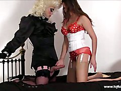 Horny blonde crossdresser wanks off and cums in busty Milfs slutty face