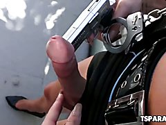 Jonelle Brooks is a really sexy and overly horny shemale cop who exposes her big tits and st...