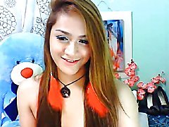 Watch this super hot and gorgeous Asian ladyboy with small tits and pretty face strip and pl...