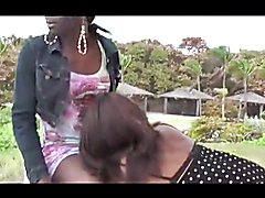 Two of my best ebony shemales from Miami, all on the beach sucking and fucking each off.