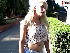 The amazing tranny Angeles Cid is flashing her tits out doors at a local university.