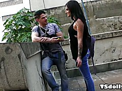 Brazilian she-male Deborah Mastronelly is hanging out with boyfriend Alex Victor on the stre...