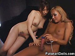 Two hot asian hermaphrodite lesbians playing together until one of them squirts and jizzes a...