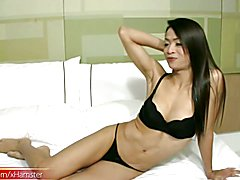 Gorgeous ladyboy in black lingerie cums all over her bigtits