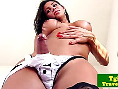 Gorgeous tranny strips and pleasures herself in her bedroom