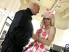 Tara Emory is a super busty blonde MILF that is horny and bored in her kitchen. When Christi...