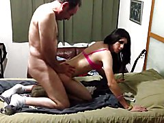 Tight body cd with a nice clit gets stuffed by older daddy type.