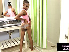 New ebony femboy jerking on film for firsttime before cumming over stomach