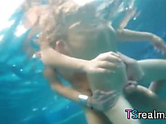 Eva Lin, Mandy Mitchell and their friends got together for an insane pool sex party where Ch...