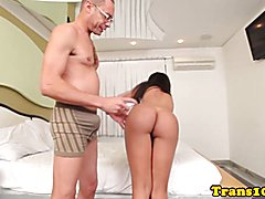 Tanlined latina tgirl analfucked up booty then gets a mouthful of cum