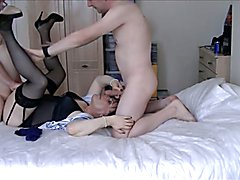 Maria Satin is back, playing a very sex starved landlady, watch how she enjoys two very hard...