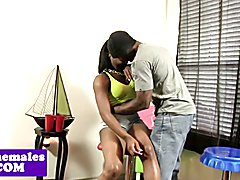 Black tgirl assfucked while jerking then cums and cant get enough