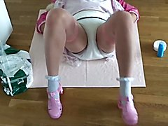 ... and tries to get out of the chastity belt. Unfortunately, the chastity cage is 100% secu...
