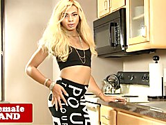 Heeled black tgirl beauty strips and jerksoff in the kitchen