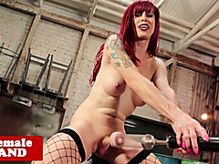 Heeled trans star Nadia Vixen drilled by fuckmachine