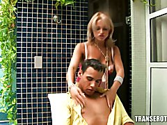 TransErotica.com - Latina shemale anal fucking and blowjob with younger guy