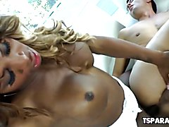 Chastity Michaels is a busty black shemale who enjoys having some hot interracial sex with G...