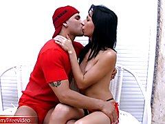 Japanese-Brazilian TS Sabrina meets up with her boyfriend already half naked. Horny guy mois...