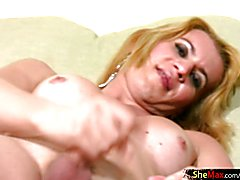 Peculiar trans caresses her sexy body and jacks off shemeat